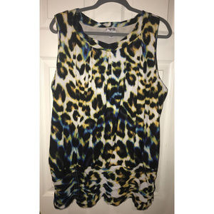 Worthington Leopard Ruched Tank Top, Size 2X
